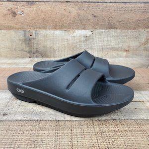 Oofos OOahh Women Sz 8 Comfort Walking Recovery Slides Sandals Black